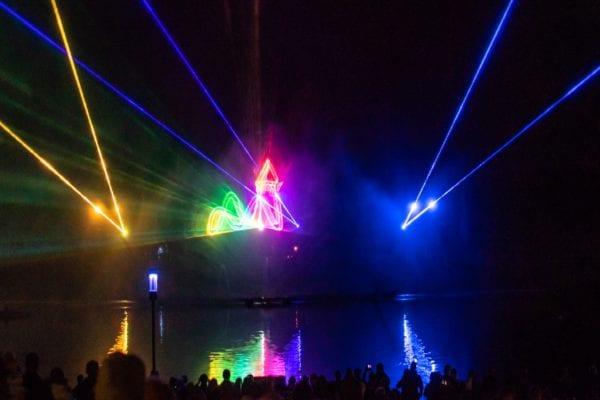 Laser Projektionen mit Hydroschild